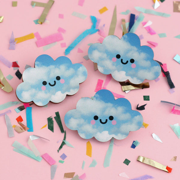Three Happy Blue Clouds Wooden Pin Badge