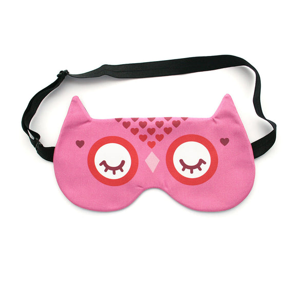 Owl sleep mask with pink hearts pattern