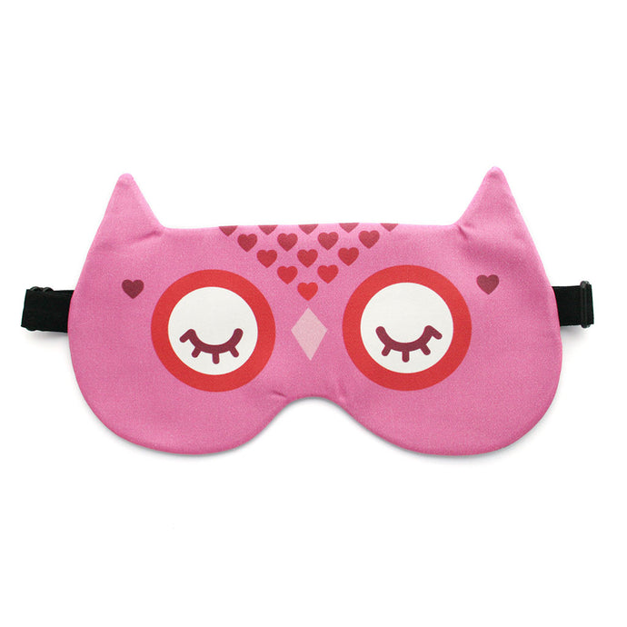 Pink owl sleep mask with hearts
