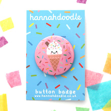 Vanilla Ice Cream Button Badge on hannahdoodle backing card