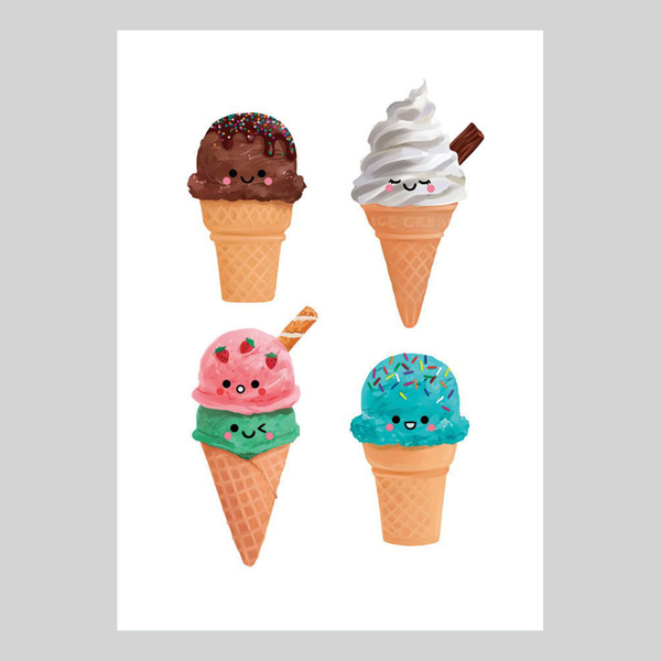 Ice Cream Collection, A5 Art Print by hannahdoodle