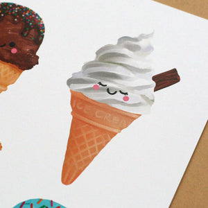 Ice Cream Collection, A5 Art Print