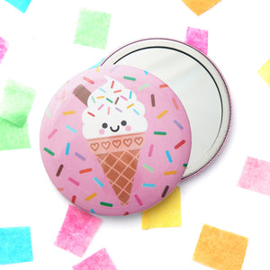 Cute Ice Cream 76mm pocket mirror