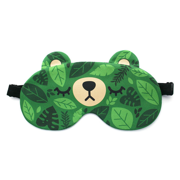 Cute bear sleep mask with green leaves pattern