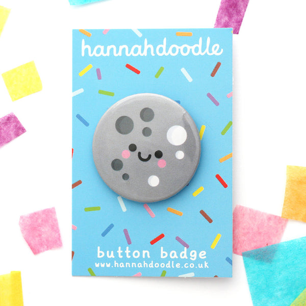 Kawaii moon button badge on hannahdoodle backing card