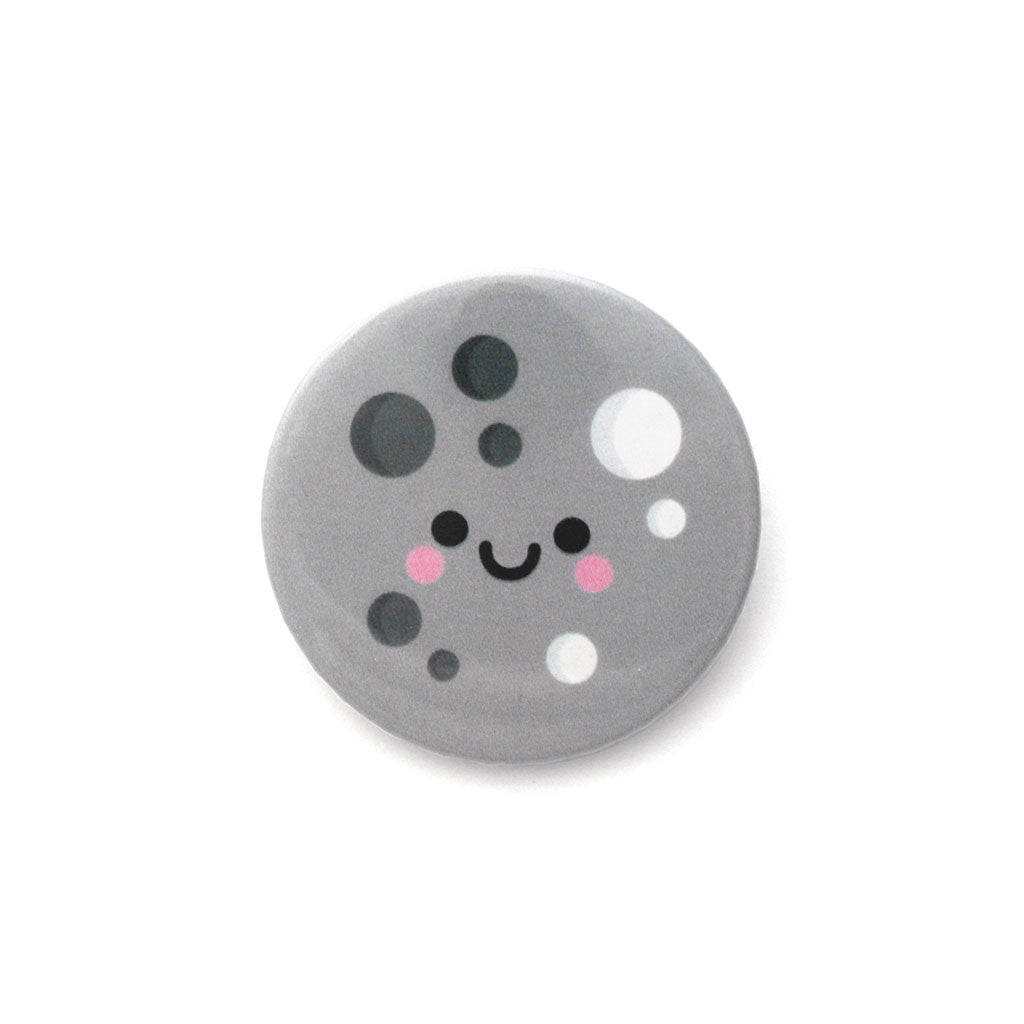 Kawaii moon button badge
