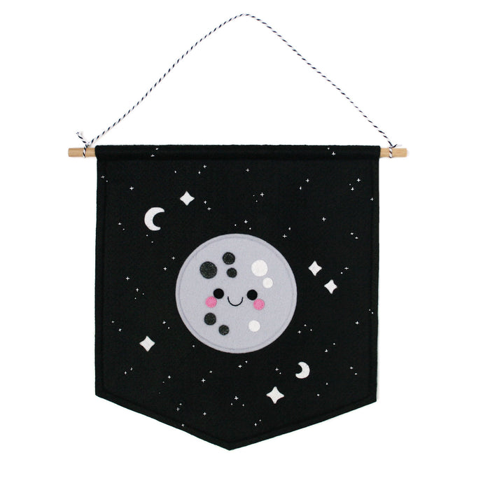 Moon felt wall banner with white embroidered stars