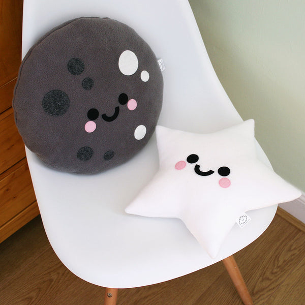 Moon and star plush pillows