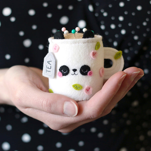 Floral Panda Teacup Pincushion by hannahdoodle