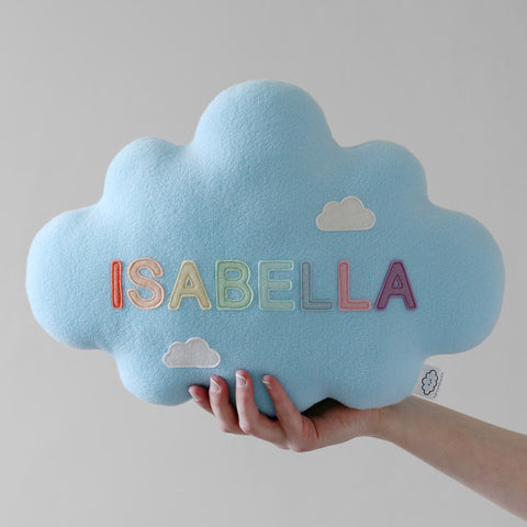 Blue Name Cloud Pillow by hannahdoodle
