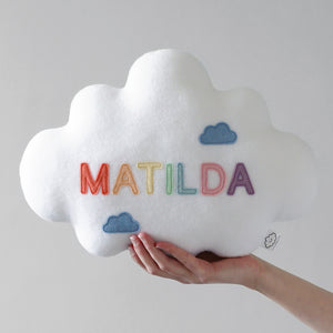 Name Cloud Pillow with Pastel Name Letters