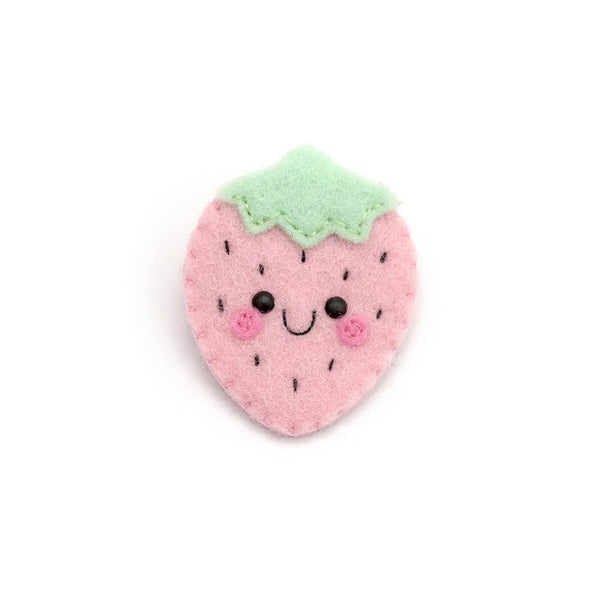 Pastel Pink Strawberry Felt Brooch