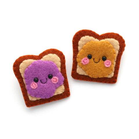 Peanut Butter and Jelly Sandwich Felt Brooches