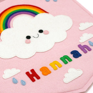 pink rainbow cloud name banner