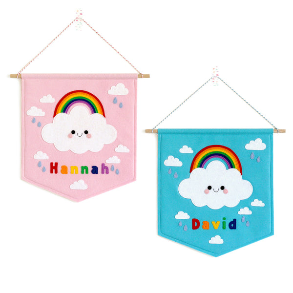 rainbow cloud name nursery banners