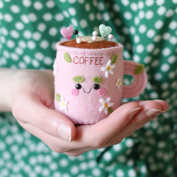 Kawaii Coffee Pincushion by hannahdoodle