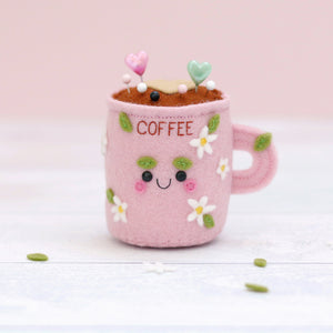 Coffee Pincushion with Daisies and Leaves