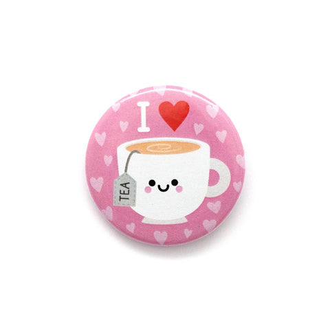 Pink I heart tea button badge