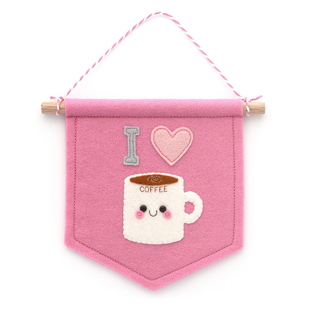 Pink I Love Coffee Felt Banner