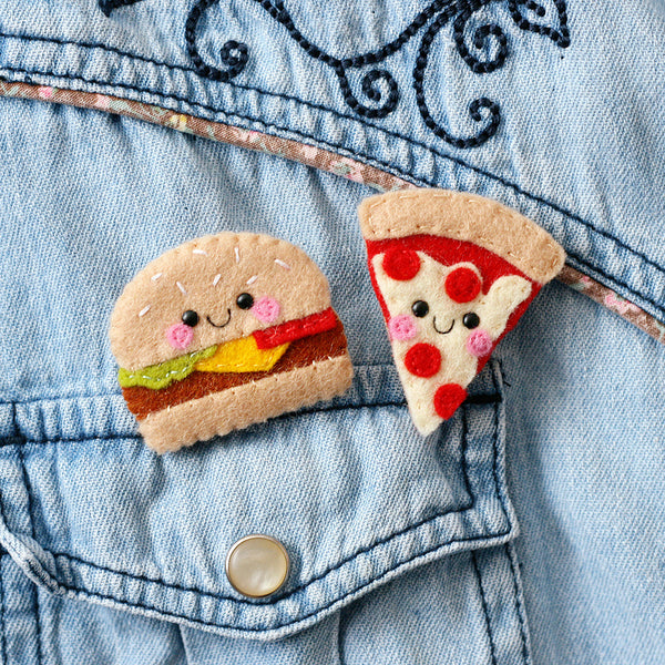 Pizza and Burger felt brooches by hannahdoodle