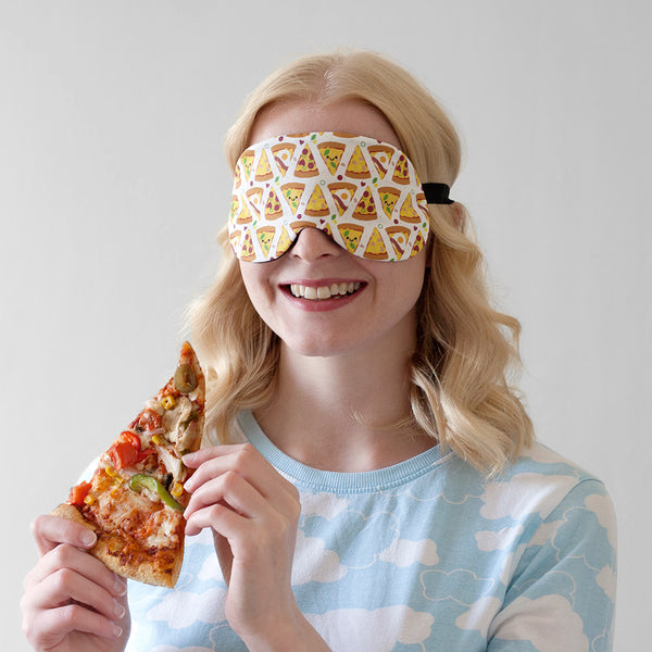 Blonde Lady Wearing Pizza Sleep Mask holding a Pizza Slice