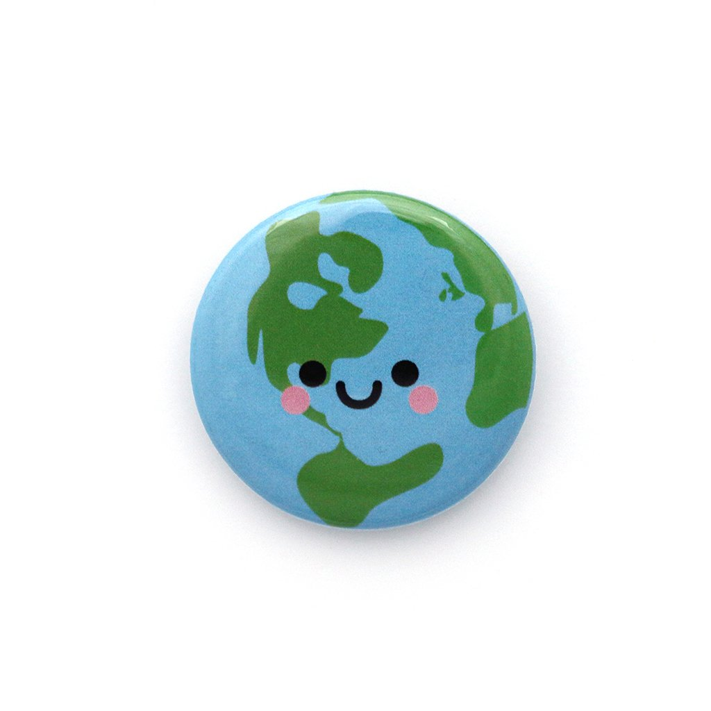Planet Earth Button Badge