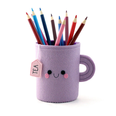 Purple pen pot teacup