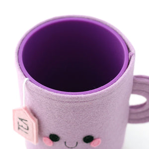 Purple Teacup pen pot top view