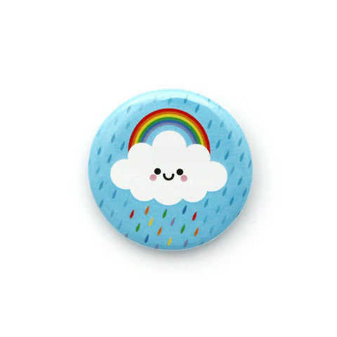 Rainbow Raincloud Button Badge