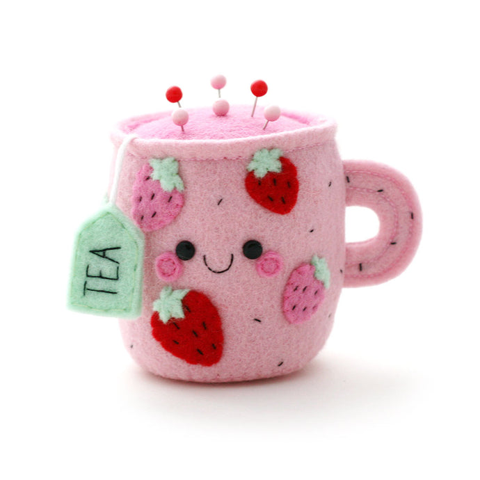 Teacup Pincushion with Strawberry Felt Detail