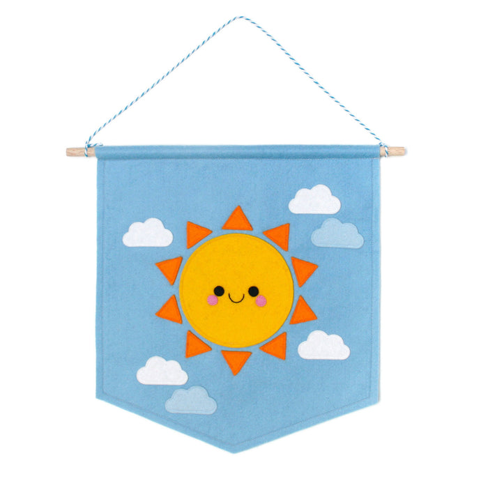 Blue felt banner with a happy sun and felt cloud details