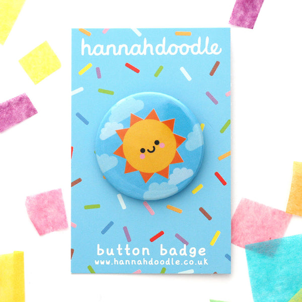 Kawaii Sunshine button badge