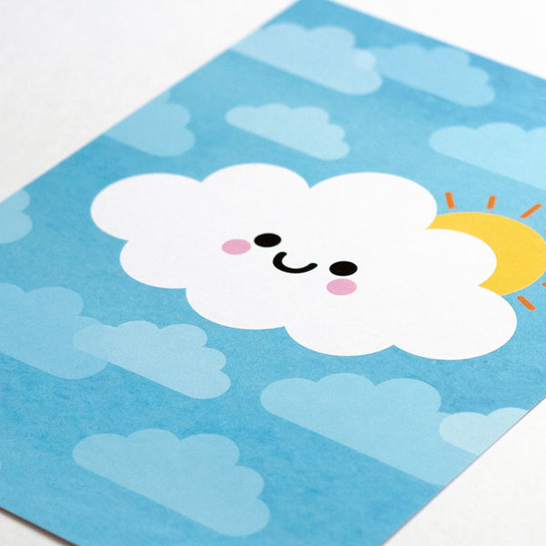 Happy sunshine cloud kawaii print close up