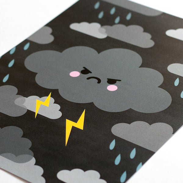 angry thunder cloud art print close up