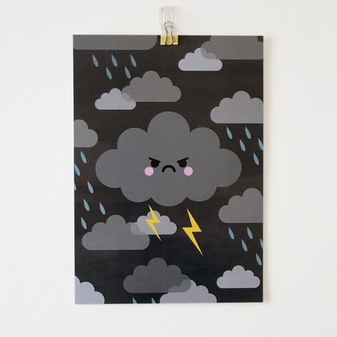thunder cloud a4 art print by hannahdoodle