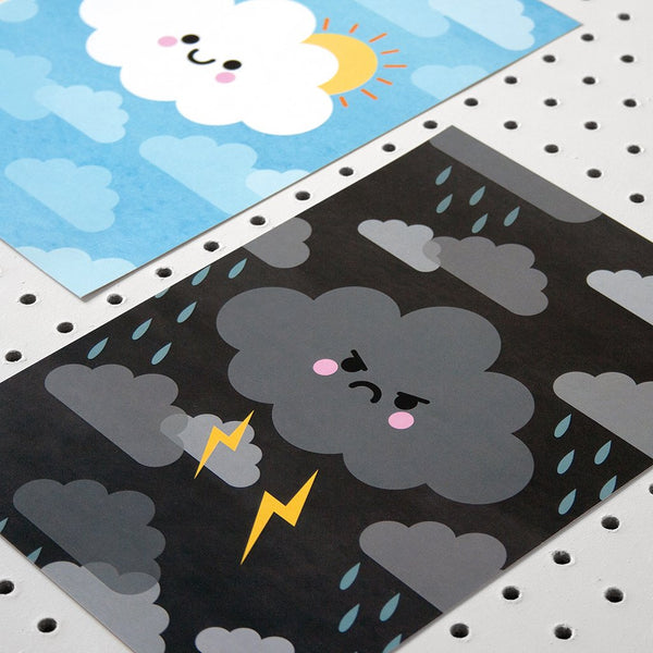 angry kawaii cloud art print