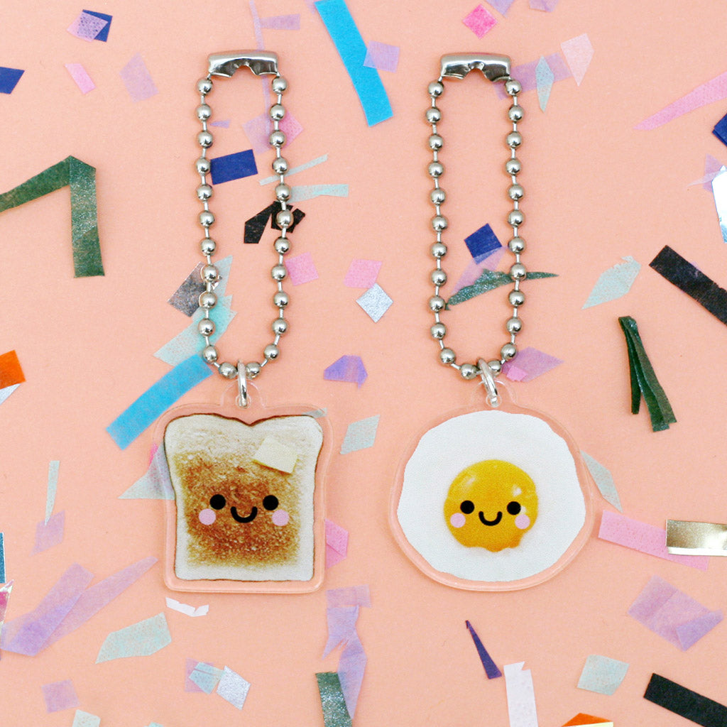 toast and egg clear acrylic charms by hannahdoodle
