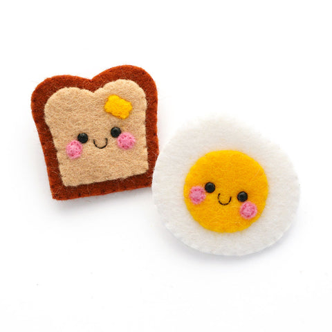 Kawaii Toast and Egg Felt Brooches