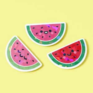 watermelon stickers with a holographic vinyl overlay