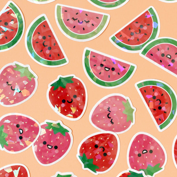 Watermelon Stickers with Holographic Overlay (set of 3)