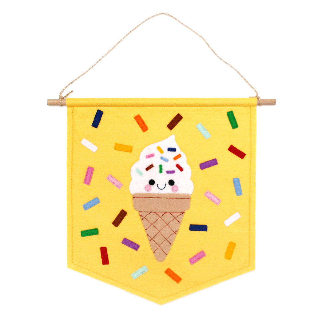 Yellow felt banner with happy ice cream by hannahdoodle