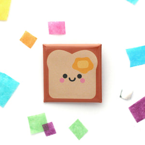 Buttered toast 38mm square button badge