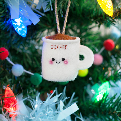 coffee cup felt ornament