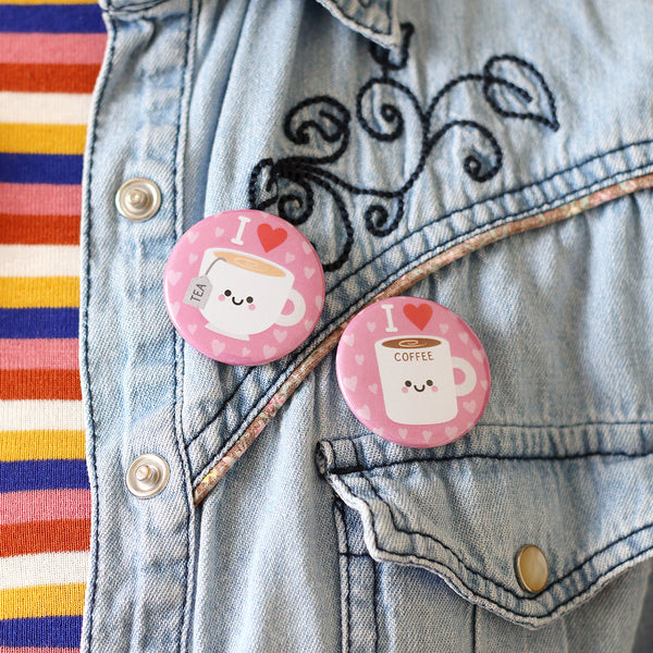 kawaii coffee and tea button badges