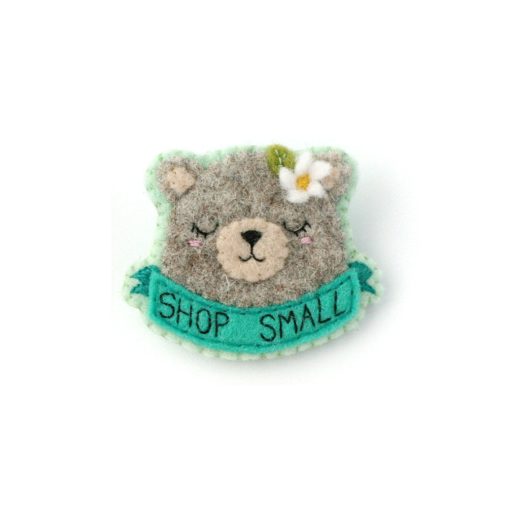 Grey Bear 'Shop Small' Felt Brooch