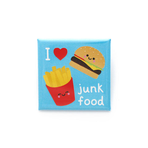 Square blue button badge with burger and fries illustration