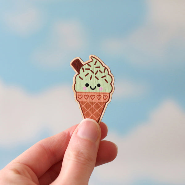 Mint Choc Chip Ice Cream Wooden Pin Badge