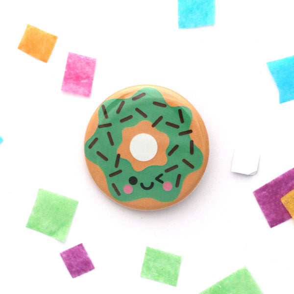 Mint choc chip donut 38mm button badge with winking face