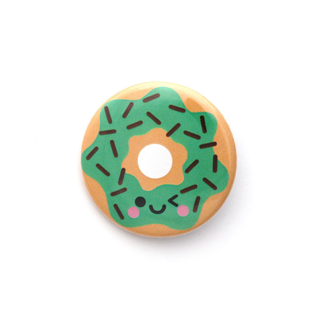Mint choc chip donut button badge with winking face