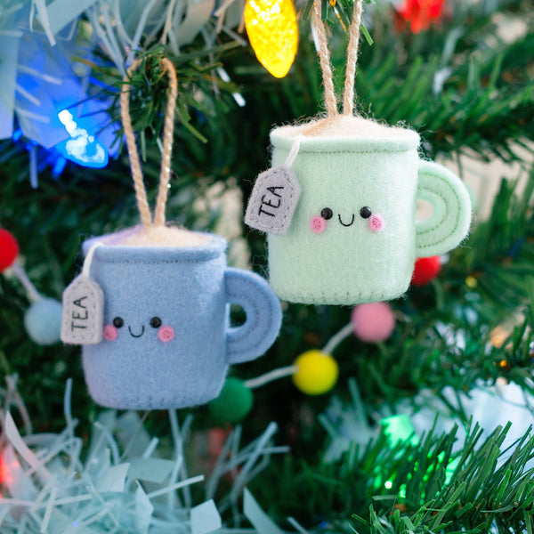 mint and blue teacup ornaments